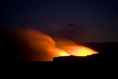 Kilauea's lava glow at night