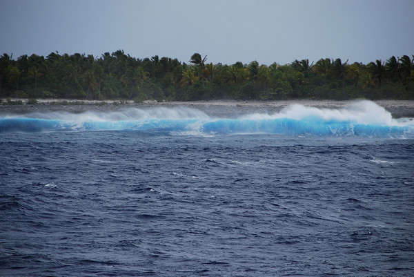 Tenarero. The surf gives an idea of why we were not able to land on this atoll.<br />birds polynesia<br /><br />surf on reef