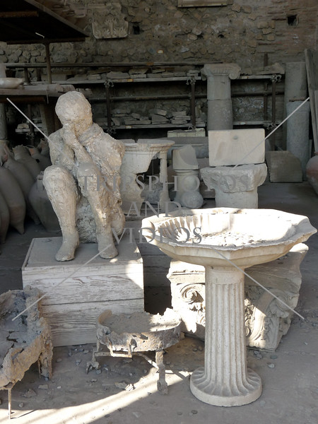 Pompeii ruins and plaster molds in Italy.