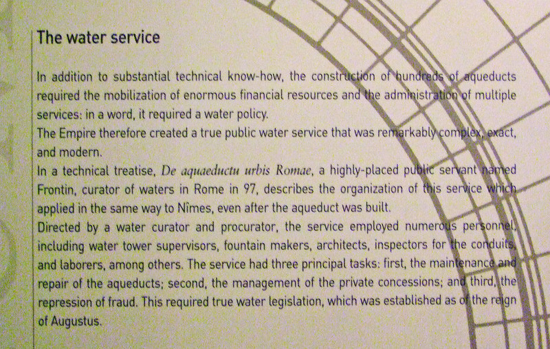 Description of a Roman era water utility of 2,000 years ago.  Very similar to water utilities today.