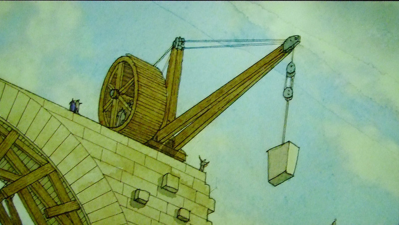 A crane from the Roman era (2,000 years ago) used to build the aquaduct.
