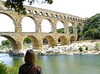 Jan's view of the beautiful Pont Du Gard aquaduct.  The top section contained the channel that carried about 6,000 gallons per minute a distance of about 45 miles - from Uzes to Nimes.