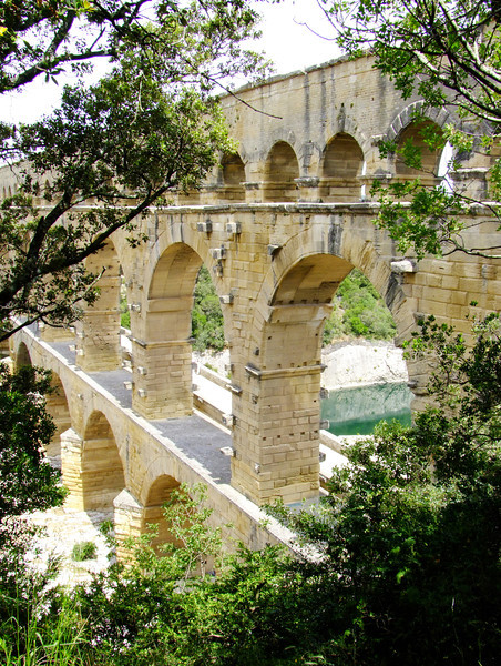 View of the three tiered Pont Du Gard aquaduct.