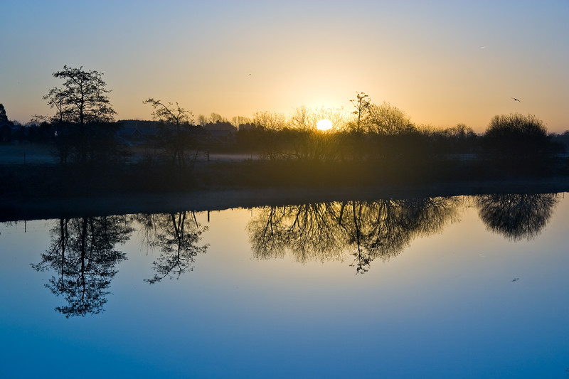 Dawn over the river Bann in Portadown, Northern Ireland