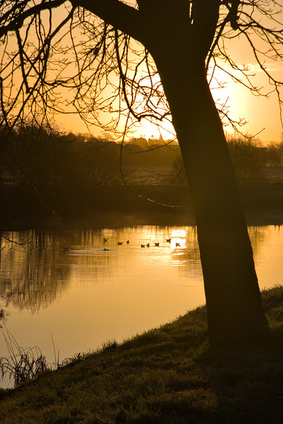 The sun rises over the river Bann in Portadown, Northern Ireland