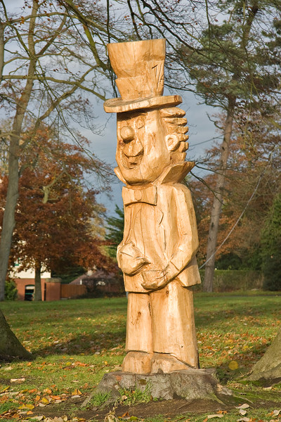 The Mad Hatter, wooden sculpture in Chambers Park, Portadown, Northern Ireland