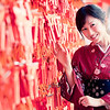 Aki wears Kimono at Fushimi Shrine (伏見稲荷大社).<br /> Fushimi Inari Shrine, Kyoto, Japan.