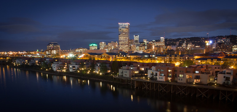 Looking towards downtown Portland at night.