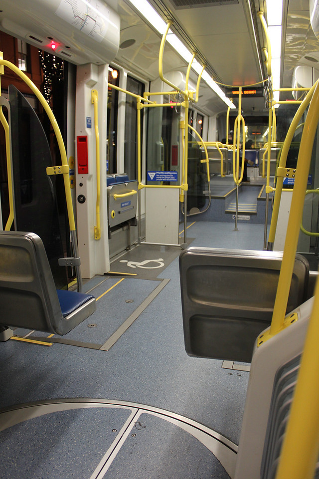 A very empty Max Light rail car at 5:40am. This is the newest cramped legroom style train