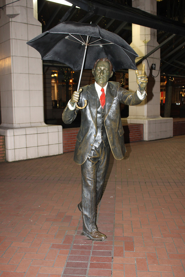 Umbrella man statue at Pioneer Square. Its a good thing he has umbrella otherwise he would get soaked by the Oregon Liquid Sunshine