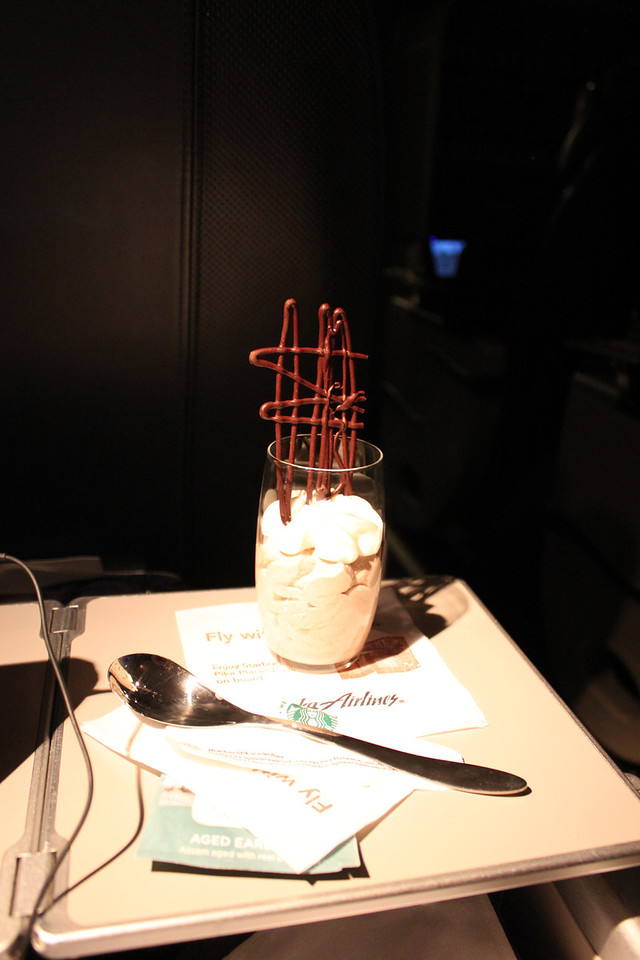 Alaska Airlines First Class dessert. Cinnamon Chocolate Mousse Parfait with a chocolate tower.