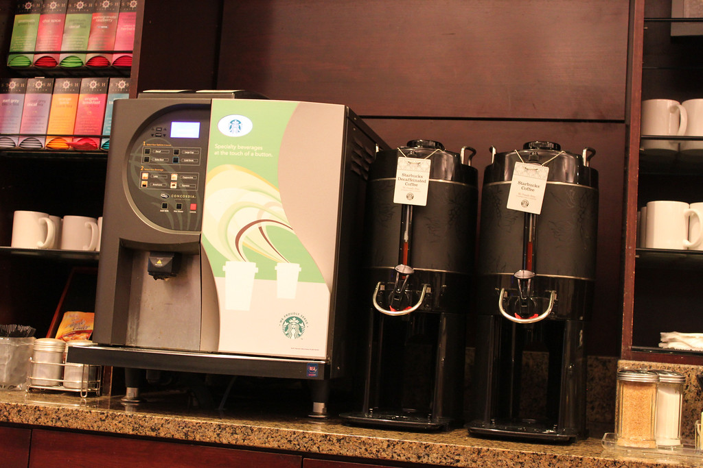 Starbucks coffee machine to wake up those weary eyed travelers
