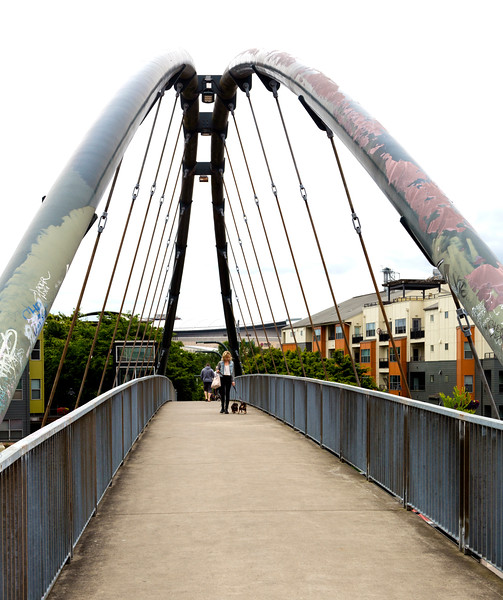 A foot bridge over the rail yards