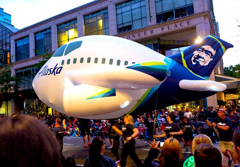 Dry brush rendering of the Alaska Airlines float.