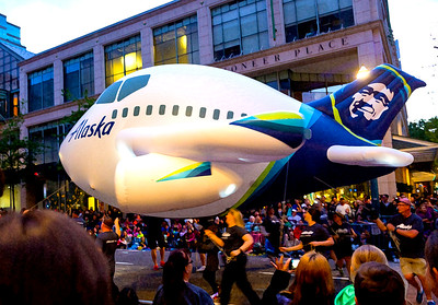 Dry brush rendering of the Alaska Airlines float.