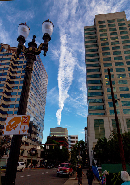 Cloud formations make Portland buildings seem to be on fire.