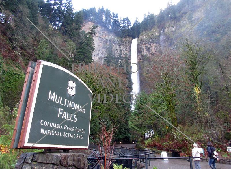 The Multnomah Falls in Portland, Oregon.