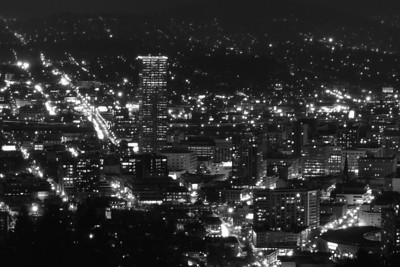 View of a small portion of downtown Portland, Oregon taken from the Pittock Mansion property in NW Portland.