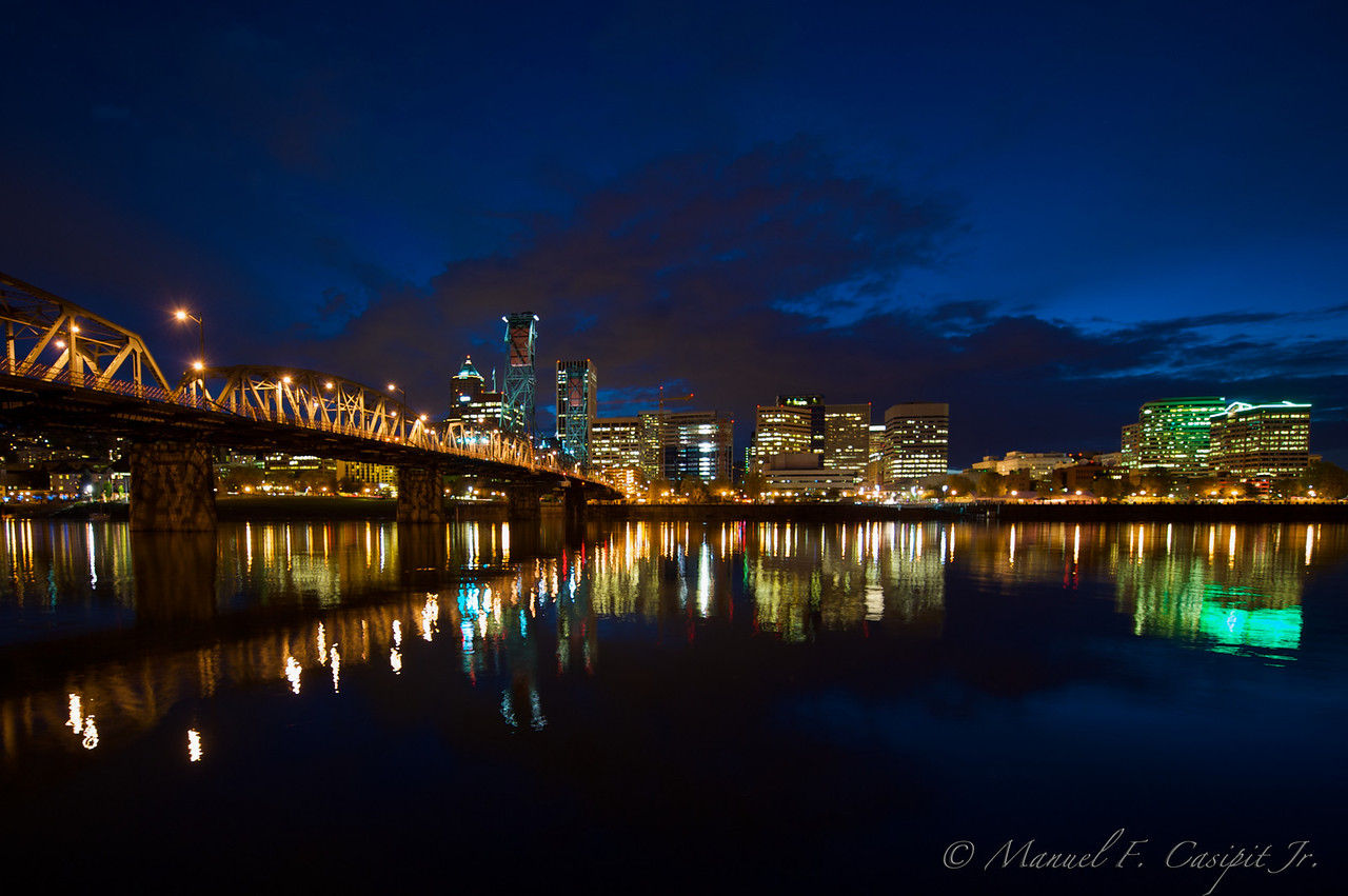 Portland skyline at Hawthorne bridge (northeast side)