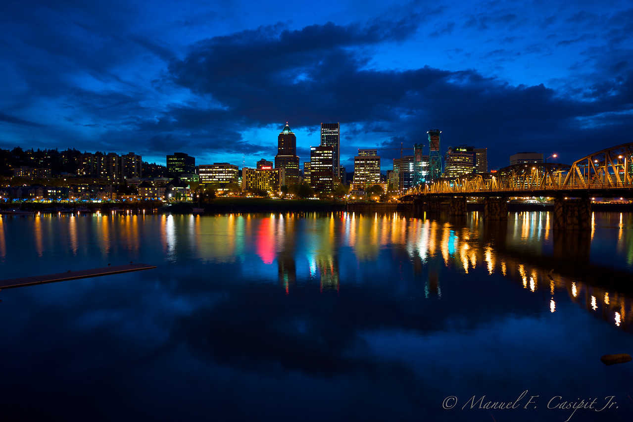 Portland skyline at Hawthorne bridge (southeast side)