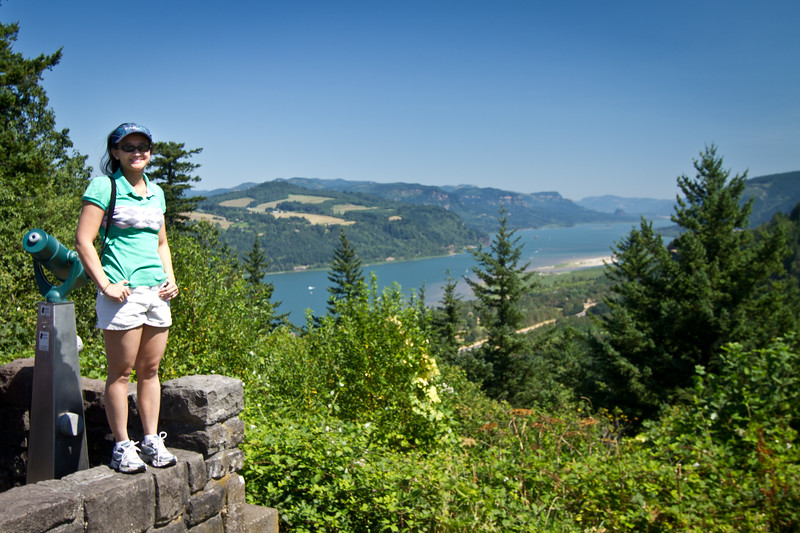 Catherine overlooking the Columbia River Gorge