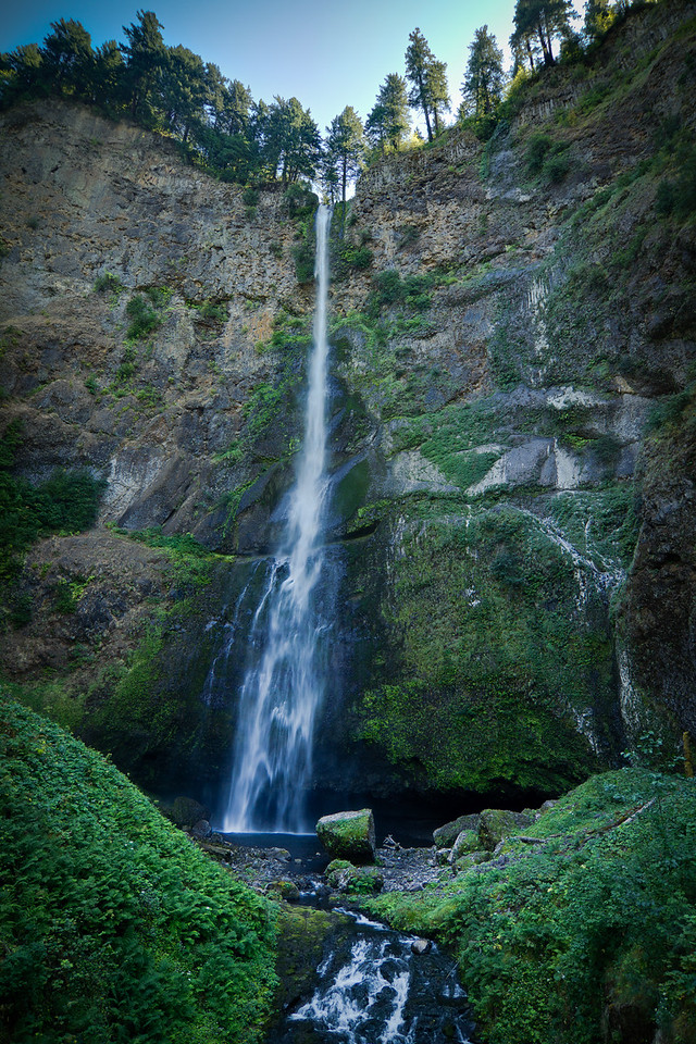 Multnomah falls in summer, upper falls with multiple exposures enfused