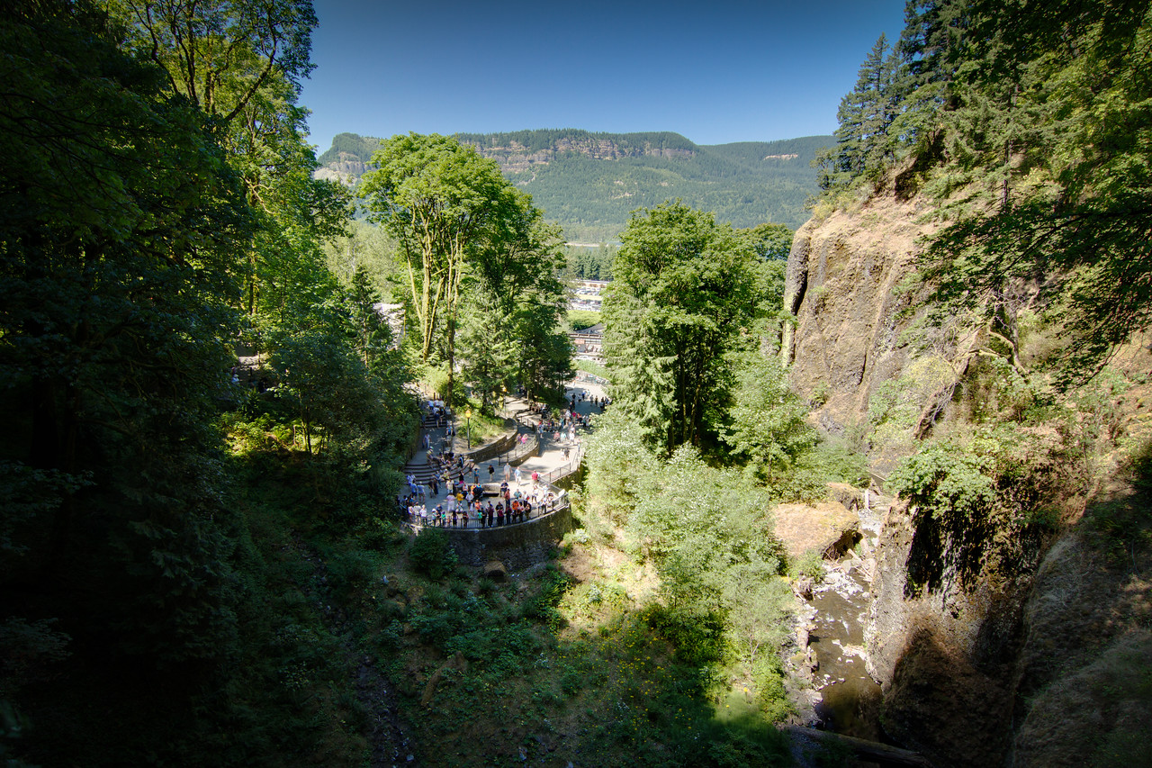 View from lower bridge at Multnomah falls, multiple exposures enfused