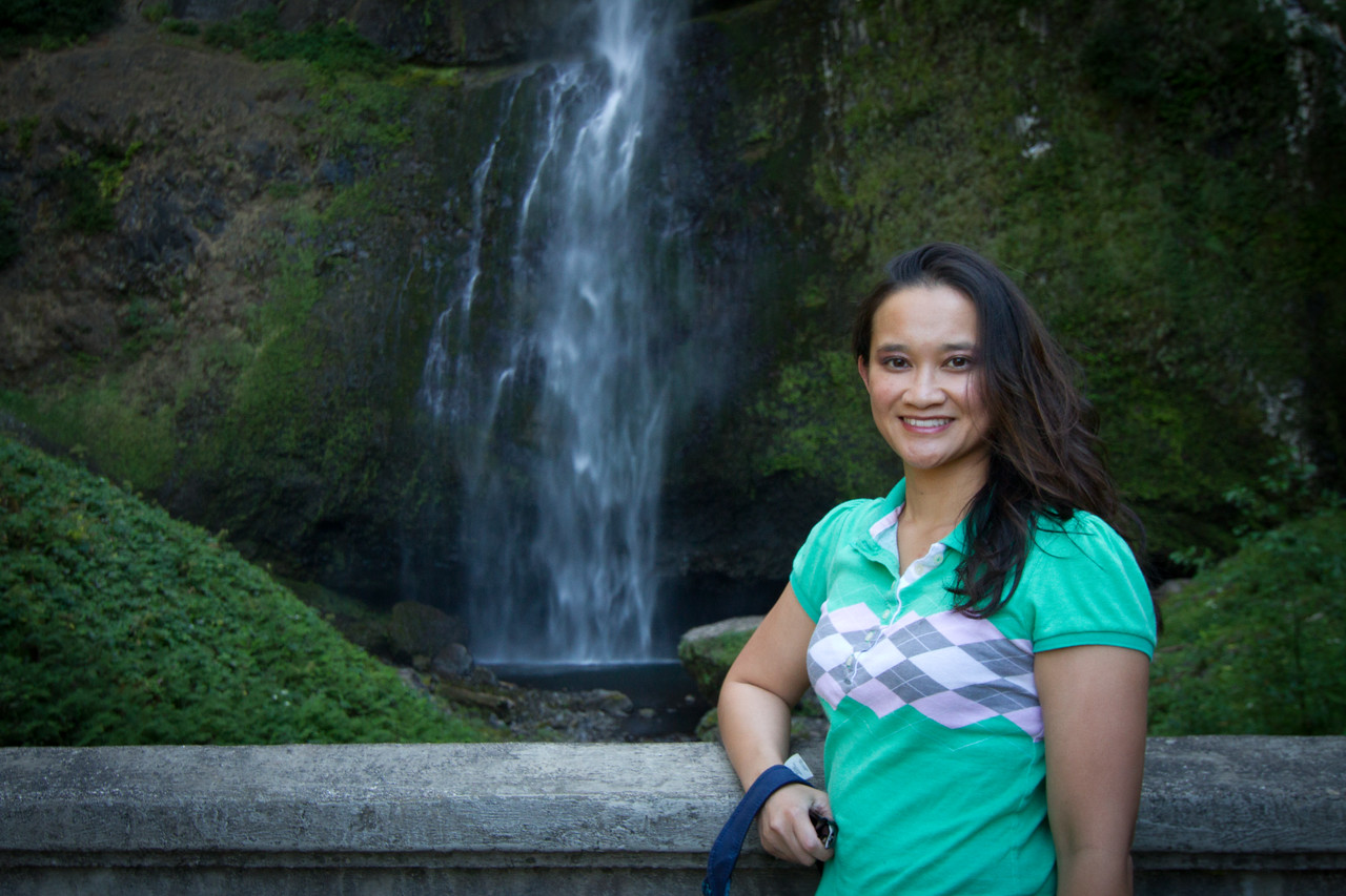 Catherine by the bridge under the Upper Multnomah falls