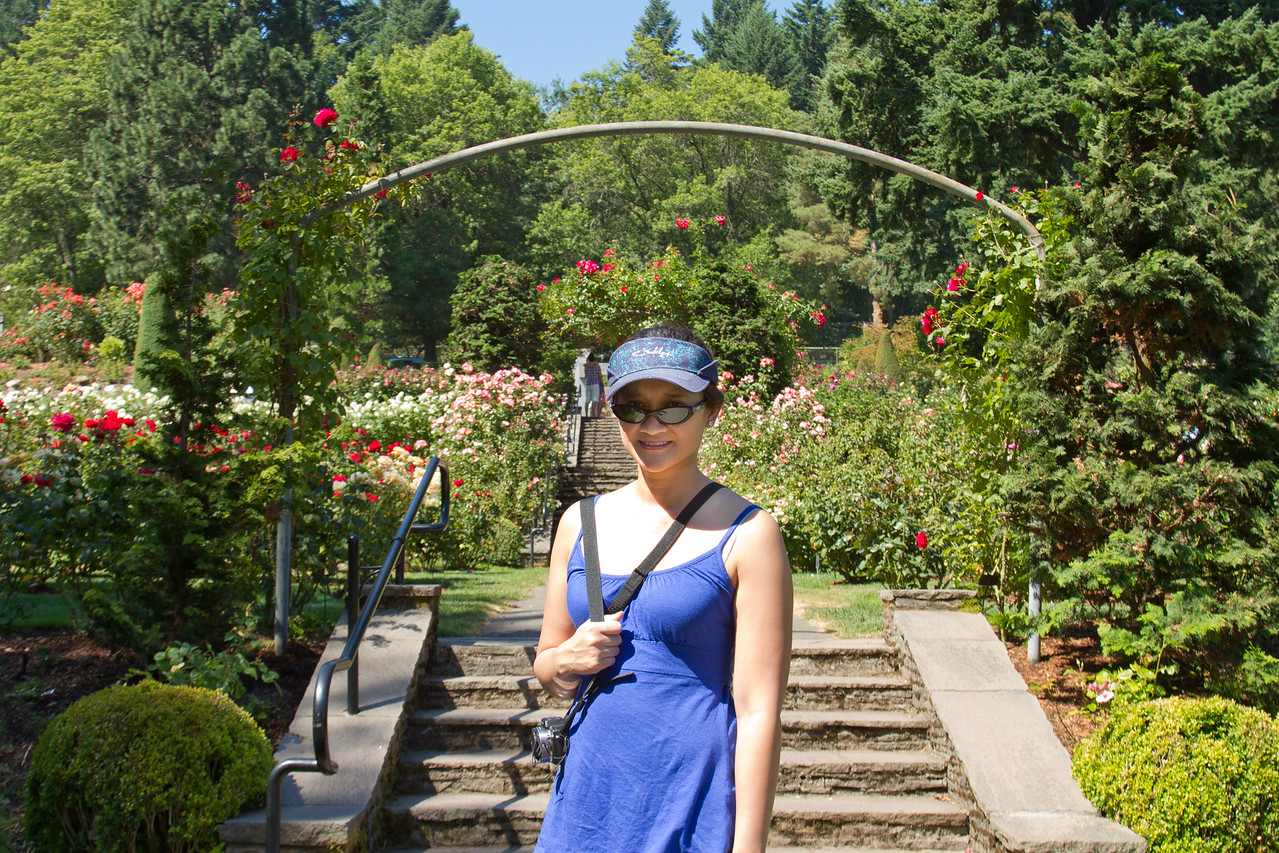 Catherine in front of the arbors - Portland Rose Garden