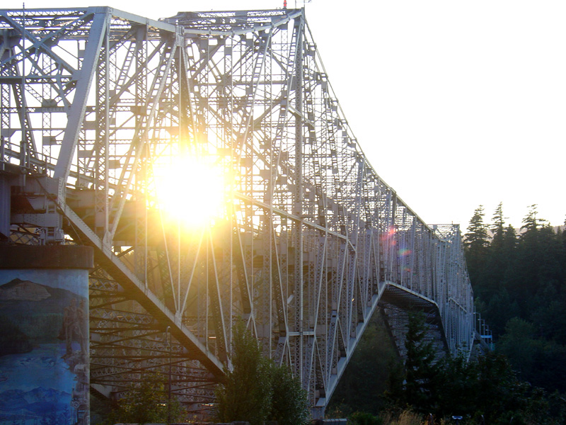 'Bridge of the Gods' - across Columbia River, joining Oregon and Washington states. The bridge itself is nothing spectacular, but gets its name from an older natural stone bridge that used to exist there.