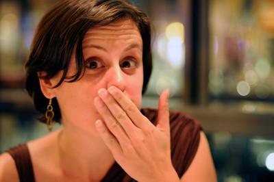 Julie eating sushi