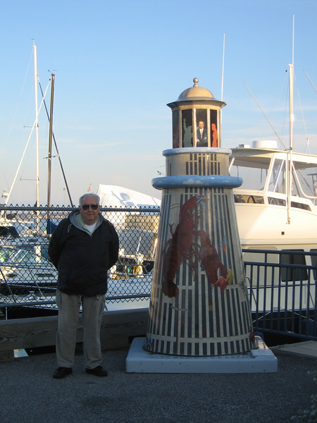 Dad and mini lighthouse in Portland Maine