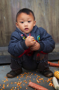 Young boy attending to corn in Ping'an
