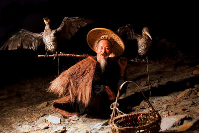 Fisherman with cormorants, Yangsuo, China