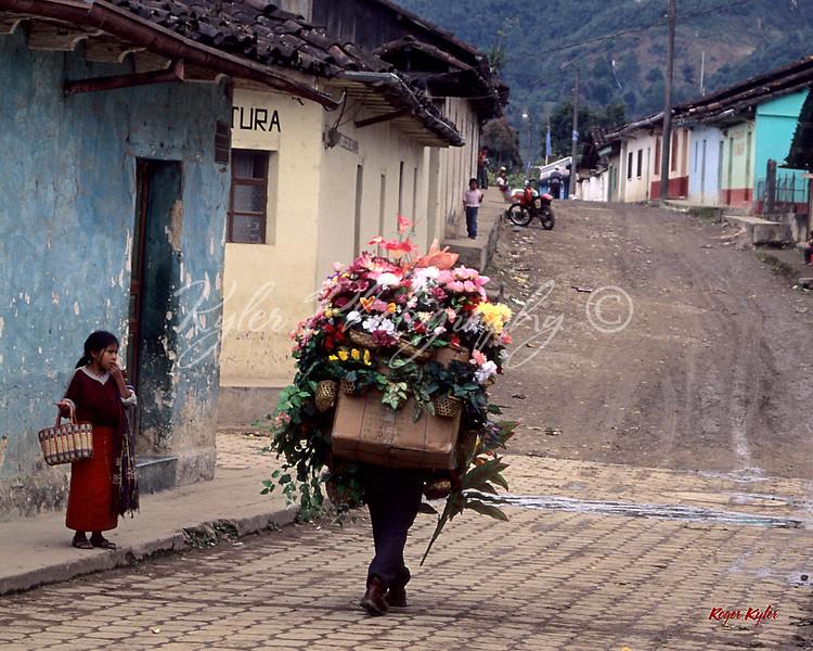 Flower peddler, Nebaj, Guatemala