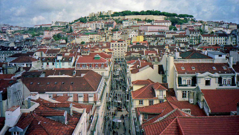 View of Lisbon looking at St. Georges castle