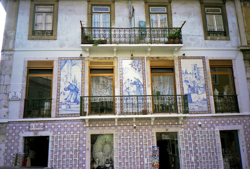 Tiled building in Alfama district of Lisbon