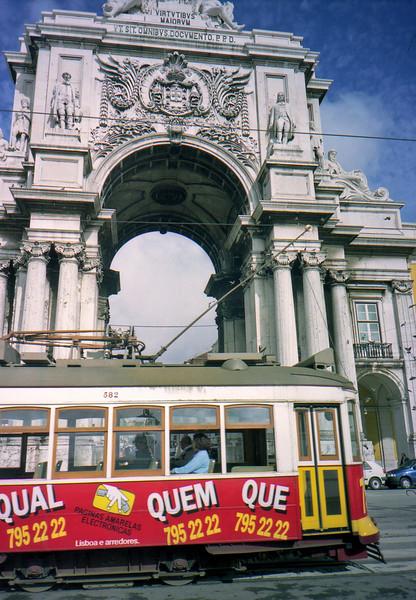 Triumphal Arch and city tram Lisbon