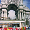 Triumphal Arch and city tram Lisbon