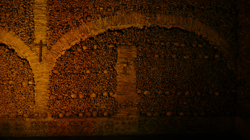 Inside the Capela do Ossos.  The bones of more than 5,000 monks cover the chamber.