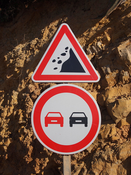 Watch out for falling rocks, don't pass