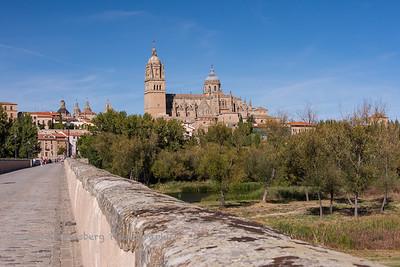 Salamanca Cathedral (Catedral de Salamanca) viewed from the Roman bridge Puente Romano
