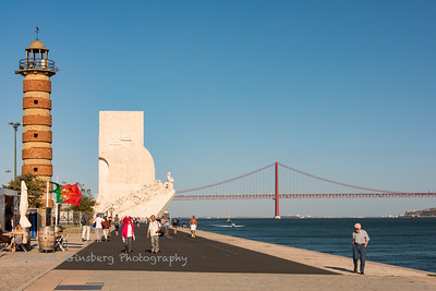 Monument to the Discoveries (Padrão dos Descobrimentos) with Ponte 25 de Abril (Bridge of the 25th of April) in the background).