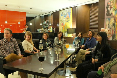 Gathering in the bar near Lobby before departing to Colina Restaurant