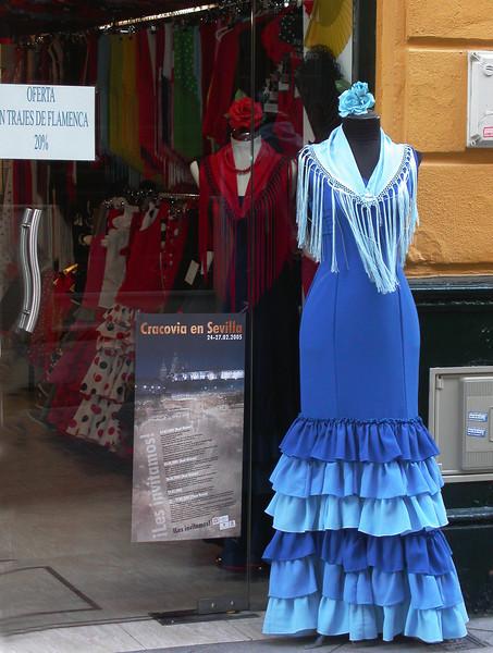Flamenco dress in dress shop in Seville