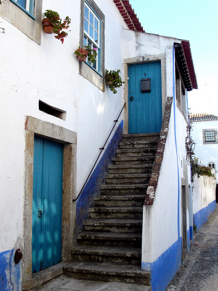 Blue door in Portugal