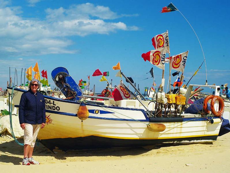 Fishing fleet on the beach at Monte Gordo, East Algarve.