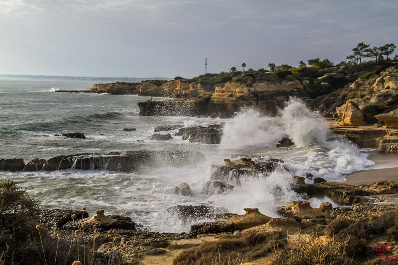 Waves crashing at Praia do Evaristo Beach Algarve Portugal 5
