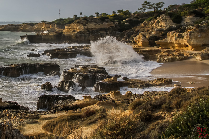 Waves crashing at Praia do Evaristo Beach Algarve Portugal 6