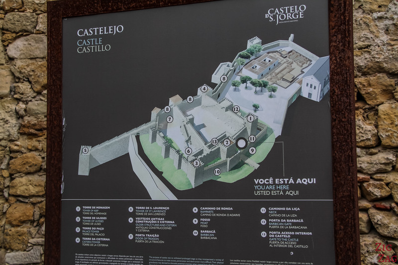map of the Castle of Sao Jorge Lisbon Portugal